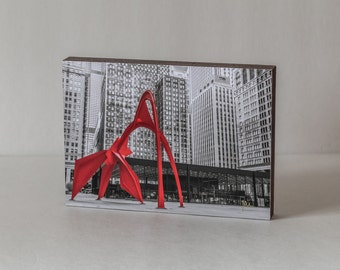 Calder Flamingo Sculpture, Wood Photo Block, Black White Red, Federal Plaza, Modern Art, Urban Architecture, Chicago Downtown, Chicago Art
