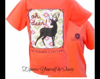 Southern Couture, Like Simply Southern, Oh Deer, Fall 2016, Comfort Colors, Comfort Collection, Bright Salmon, Long Sleeve, Short Sleeve