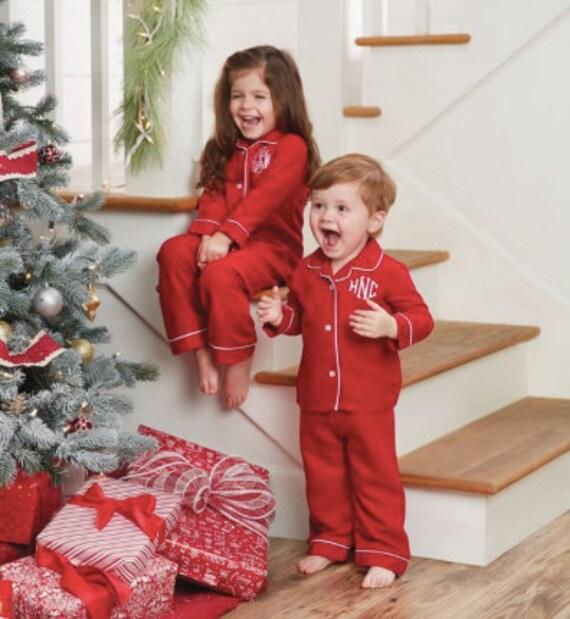 Monogram Christmas Pajamas Red Pajamas Red Gown Christmas