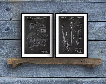 Fender Guitar Prints - Set of 2 - Fender Patent, Guitar Poster, Fender Guitar Blueprint, Fender Guitar Print, fender Art, Guitar Decor, sp45