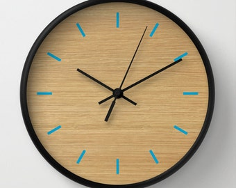 wood pattern Clock, Modern Wall Clock, Modern Clock, The Modern Clock, wood and blue clock, wood pattern clock, modern wall clock
