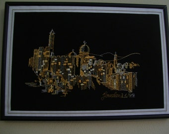 Jerusalem Wall Hanging Embroidery Framed