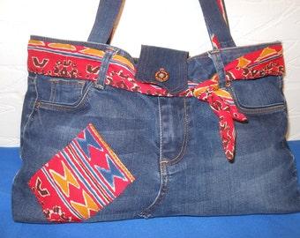 Recycled denim bag, tote bag, denim shoulder bag, ethically recycled jeans bag, one off eco chic handbag