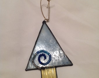 Streaked Blue Opaque Embellished Stain Glass Christmas Tree Ornament Sun Catcher