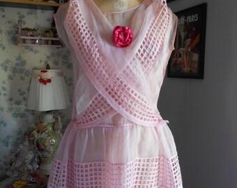 Pretty 1930's Pink Organza Garden/Tea Party Dress