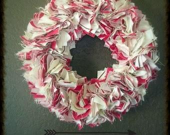 "12"" Striped Fabric Wreath"