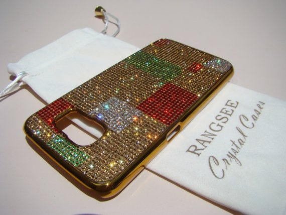 Samsung Galaxy S6. Abstract Art Design Case . 4 Colors of Rhinestone Crystals on Gold Chrome  Case. Genuine Rangsee Crystal Cases.