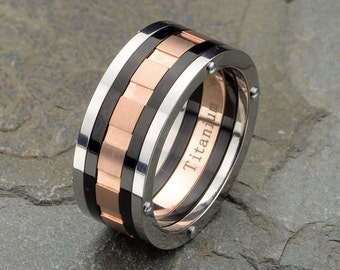 Titanium Wedding band Grooved Mate Polished Rose Gold Plated 9mm width His wedding band Anniversary ring mens Titanium band, Three tone Ring