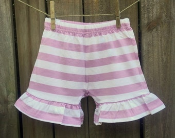 Lavender Striped Ruffle Shorts