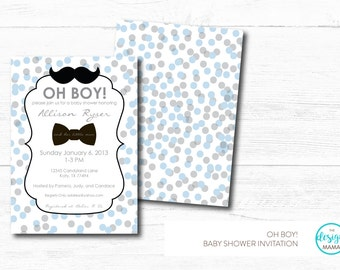 Mustache & Bowtie Polka Dot Baby Blue/Grey Baby Shower Invitation - Boy