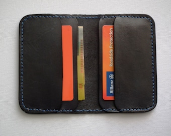 Card Wallet - four pocket black leather with blue stitching