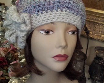 Winter Hats crochet with flower designed and made by petronella