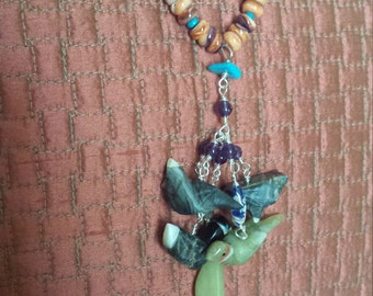 Spiny oyster and turquoise long strand necklace