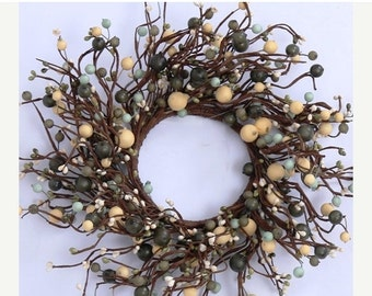 ON SALE Pip Berry Wreath-- Primitive Wreath with Mixed Berries--Primitive Wreath-Large Candle Ring-Centerpiece-Free Shipping