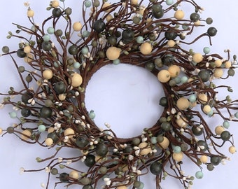 Pip Berry Wreath-- Primitive Wreath with Mixed Berries--Primitive Wreath-Large Candle Ring-Centerpiece-Free Shipping
