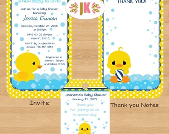 Rubber Duck Ducky Baby Shower Printed Invitations * Come Party With Us *