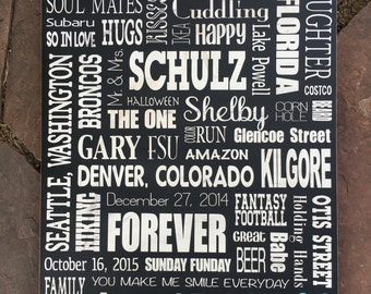 18x24, Personalized Wood Subway Sign, Custom Subway Art, Word Collage
