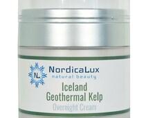 Iceland Geothermal Kelp Overnight Cream 1.3 oz / 50 ml -Moisturizing Facial Cream - A Pure Icelandic Organic Geothermal Sea Kelp Product