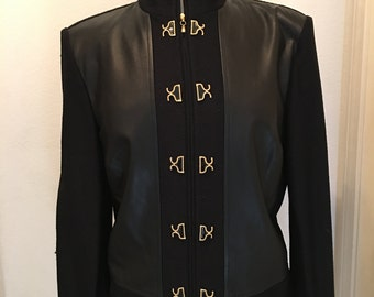 Rare Vintage St John Knit/Leather Bomber with Gold Hook and Eye Closure