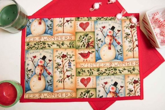 Handmade Christmas Snowman Placemat Set
