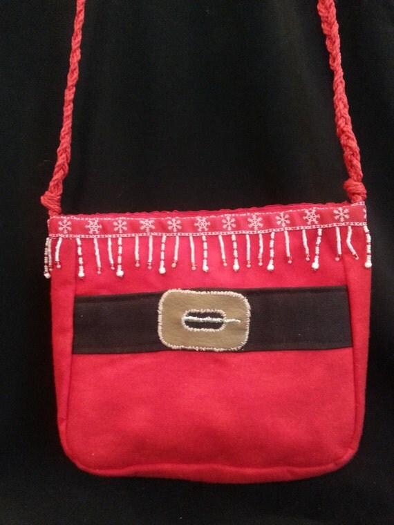 Small Handmade Santa Purse W/Red/White/Iridescent Bead Mix Trim