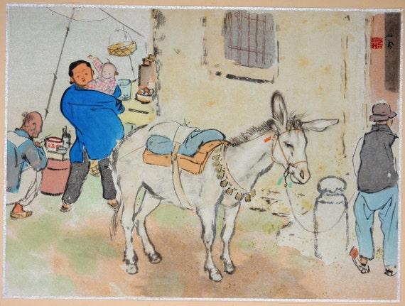 """Japanese antique print, Takeuchi Seihō, """"Suzhou"""""""