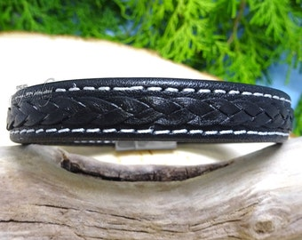 Genuine Black Leather Braided Double Stitched Bracelet