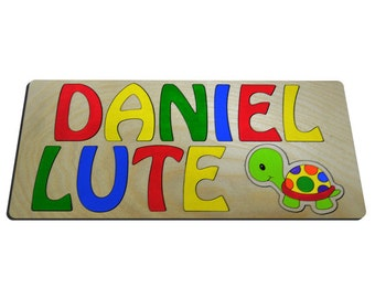 Primary Turtle Two Name Personalized Wooden Puzzle id454593456