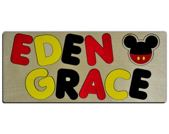 At the Clubhouse Personalized Wooden Two Name Puzzles With Mickey Mouse Head & Colors id229118979