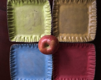 Square Plate • Handmade • Salad/Tapas Plate - The Crayon Collection