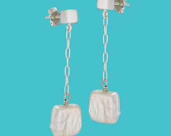 Pearl Drop Earrings - Square