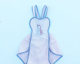Vintage pink bunny baby romper. Vintage baby sunsuit. Baby romper.