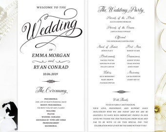 Ceremony Programs For Wedding Printed On White Shimmer Paper