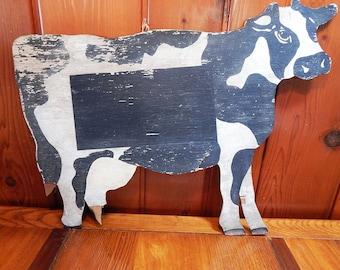 Vintage Cow Cutout Sign