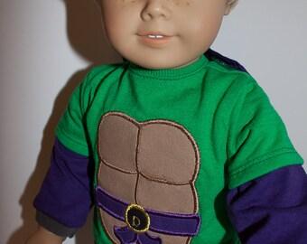 "18 inch boy doll long sleeved cape tshirts / Batman tshirt/ For American boy dolls/ Superman Tshirt / superhero shirts for 18"" boy dolls"