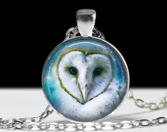 Owl Jewelry Pendant Wearable Art Owl Necklace Teal Owl Pendant Charm Snow Owl Necklace