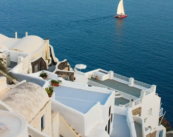 Santorini Sailboat | Greece Photography