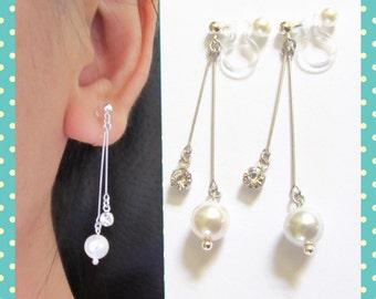 Argentium Silver Thin Bar Wedding Clip-On Earrings |6B| Swarovski Pearl Clip-on earrings Crystal Bridal Clip Earrings Dangle clip On Earring