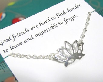 Dainty Lotus Flower Necklace Best friend friendship necklace A5silver Best Friend Friendship Birthday Christmas Gift for friend