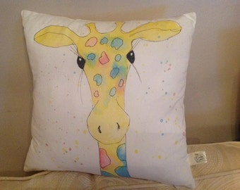 Giraffe cushion hand painted