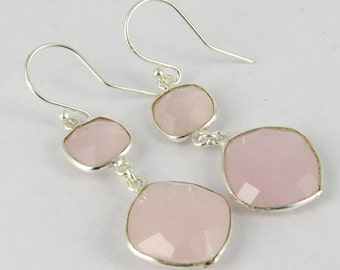 Pink Chalcedony Earrings - Bezel Set Earrings - 925 Sterling Silver Earrings - Pink Stone Earrings - Long Dangle Earrings - Bridal Earrings