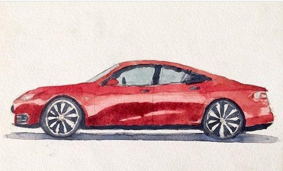 Tesla, Tesla model S, car painting, car watercolor, child art, Electric car. American car