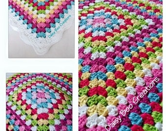 Hand made crocheted Cotton Granny square blanket
