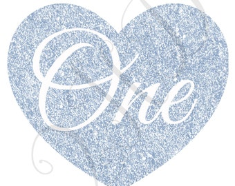 Heart ONE Silver Glitter Iron On - Digital Download - You Print