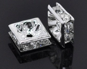 30 SP Clear Rhinestone Square Spacer Beads 8x8mm