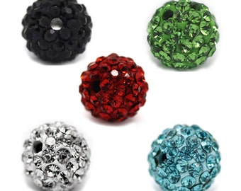 5 Mixed Pave Rhinestone Ball Beads 8mm