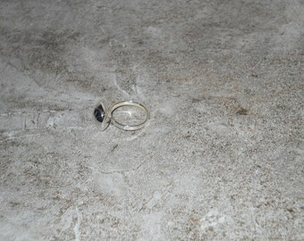 Silver button top ring
