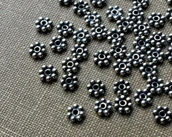Sterling Silver Bali Daisy Spacer Beads 3mm Oxidized Silver FB1063