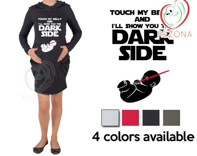 Touch my belly and I'll show you the dark side, funny star wars maternity pregnancy dress, great baby shower gift, announcement knitewear