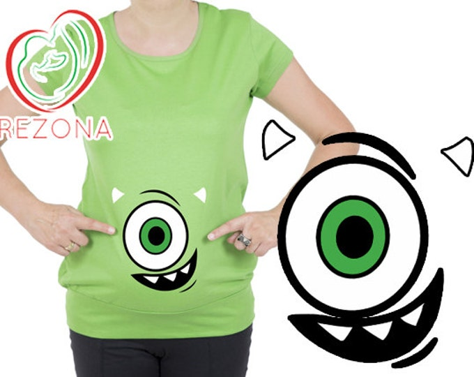 Mike Wazowski , Monsters Inc , Monster , Funny Maternity Preganancy tshirt, top, tunic